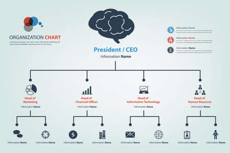 Modern and smart organization chart in which apply icon into the chart available in vector style