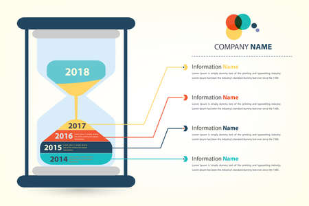 news update: timeline  milestone company history infographic presented by sandglass vector style eps10