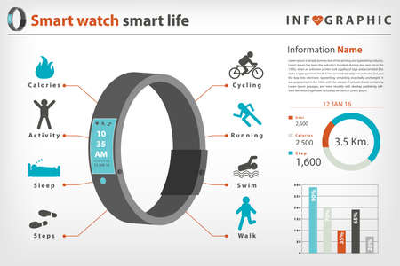 calories: smart watch with smart life in vector style