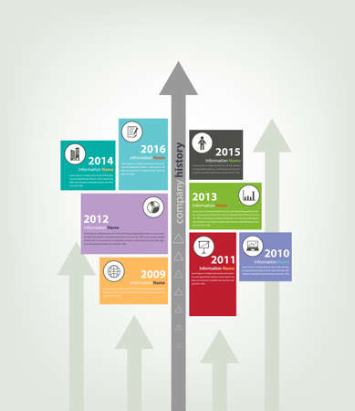 milestone: timeline  milestone company history infographic in vector style  arrow bottom to top direction