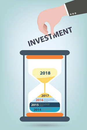 each year: Investment plan presented by sandglass spiltting in each year Illustration