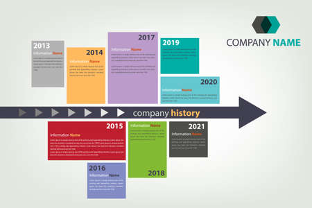 History: timeline  milestone company history infographic in vector style