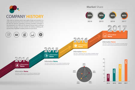 history: timeline  milestone company history infographic in vector style  presented in step up shape
