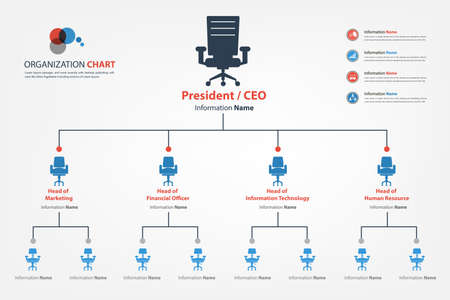 a structure: Modern and smart organization chart in which apply chair icon into the chart available in vector style