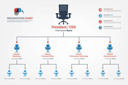 recursos financieros: Organigrama Moderno y elegante en el que se aplica icono de la silla en la tabla disponible en estilo vectorial