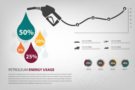 usage: petroleum energy usage infographic in vector  Illustration