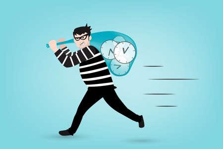 robo: El bandido estolas tiempo. cuidado y mantenga al tanto del valor del tiempo Vectores