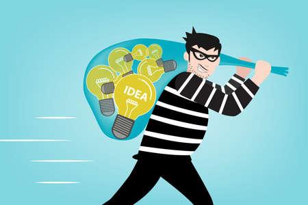 robo: El bandido robó sus ideas de creatividad en estilo eps10 vector Vectores