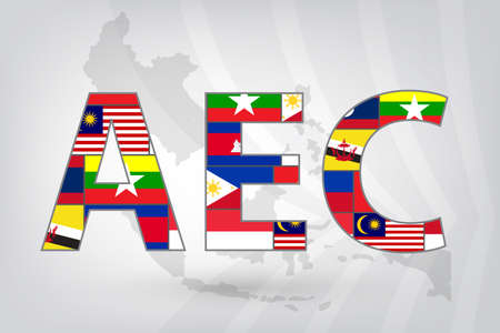 Asean Economic Community (AEC) with background map in vector style (EPS10) Ilustração