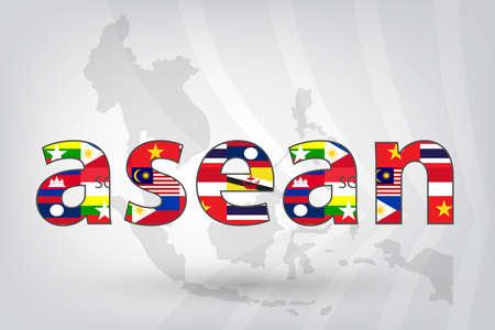 comunidad: Comunidad Económica ASEAN (AEC) con el mapa de fondo en el estilo vector (EPS10)