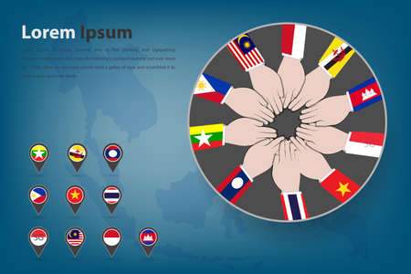 flag icons: Asean Economic Community AEC corpotation theme in vector style EPS10 Illustration