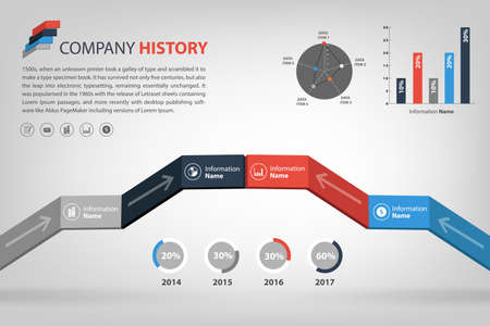 milestone: timeline  milestone company history infographic in vector style  presented in step shape