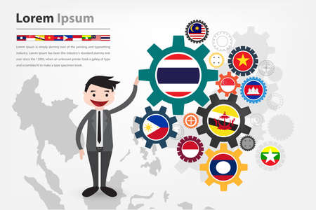 asean: economic gear driving in asean country aec displayed in vector  Illustration