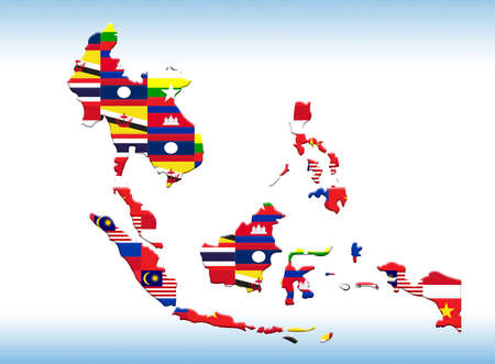asean country map illustration with nation flag