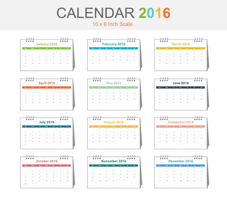 inch: Calendar 2016 template colorful theme size 10x6 inch scale landscape view