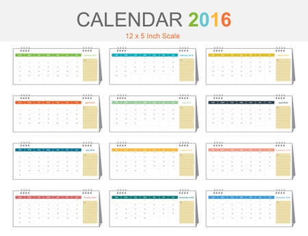 inch: Calendar 2016 template colorful theme size 12x5 inch scale Illustration