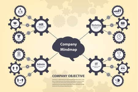 mindmap: Mindmap lluvia de ideas el concepto de engranajes infograf�a eps10 vectorial Vectores