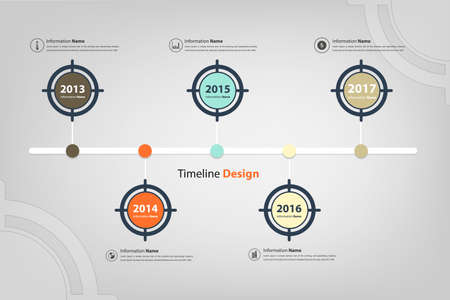 business performance: timeline & milestone in target theme infographic (Vector eps10)