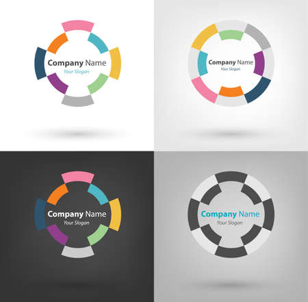 focus: Company Logo and Illustration in circle (vector eps10) there are 4 types of logo. the circle mean keep moving and focusing