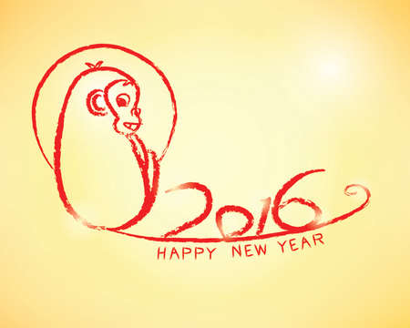 stroke of luck: Happy New Year 2016 (Year of Monkey) in chinese style Vector eps10