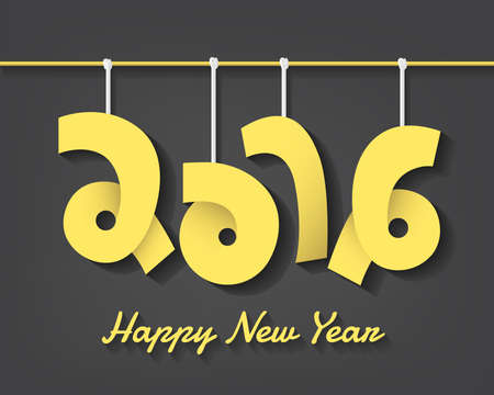 cretive: Happy new year 2016 cretive text with mobile hanging style in vector eps10 Illustration
