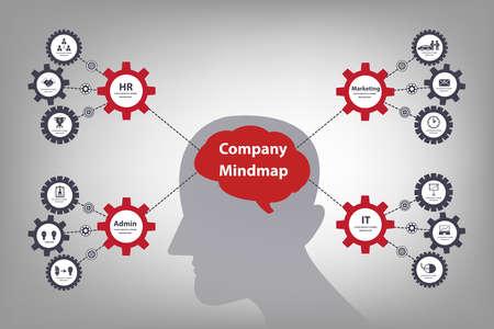 Mindmap brainstorm brain and mechanical concept infographic (Vector eps10)