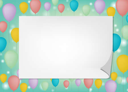 greeting card background: Greeting card white note with ballon background in vector eps10 Illustration