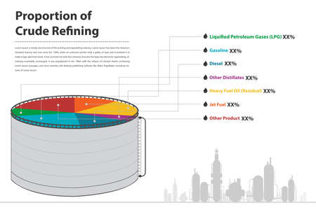 proportion: Proportion of crude refining infographic in vector eps10 petroleum business Illustration