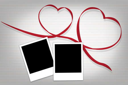 photographs: two heart with 2 photographs for our best memory in vector eps10 come with gray background apply to valentines day theme