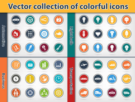 categories: Colorful icon collection Vector eps10 variety of icon automotive, business, light bulb and transportation categories Illustration