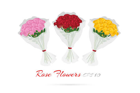 rose bouquet: Bouquet of Roses for Valentines day (Vector eps10) collection pink, red and yellow rose Illustration