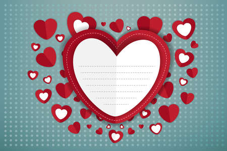 eps10: Happy Valentines Day greeting card paper Vector eps10 Illustration