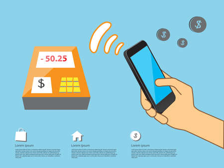 nfc: demostration for NFC Mobile payment service infographic in vector eps10
