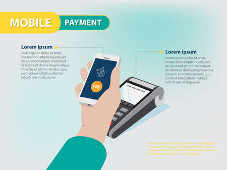 gateway: Mobile Payment Gateway infographic in vector eps10 Illustration