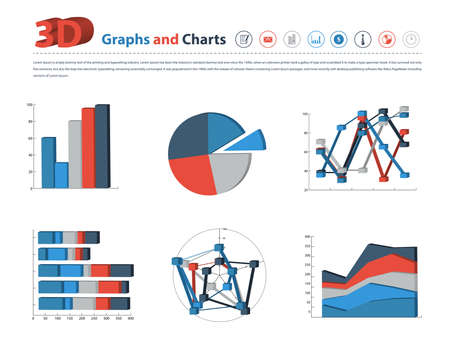 Variety of 3D Graph and Chart in vector eps10