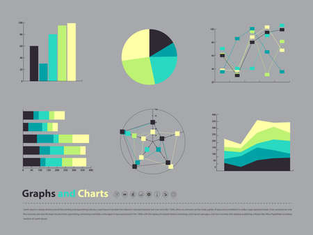 chart and graph infographic in vector eps10 Ilustração