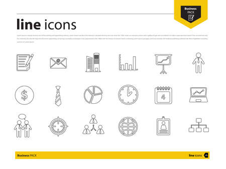 collection of business icon by Line design in vector eps10 Ilustração