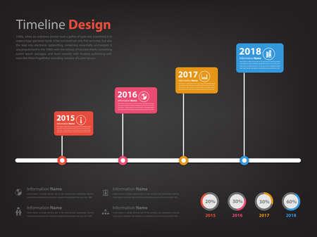 Timeline und Milestone Infografik in Vektor eps10 mit schwarzem Hintergrund