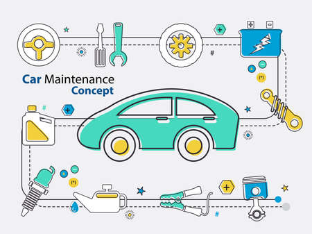 Mechanic and  car maintenance parts concept in vector eps10