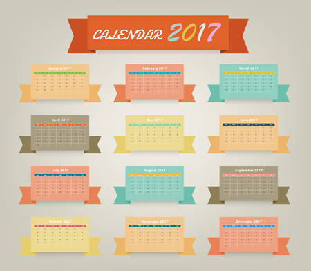 Calendar 2017 variety color on ribbon design (Vector eps10) Ilustração