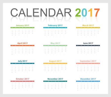 Calendar 2017 colorful party theme full month (Vector eps10) Ilustração