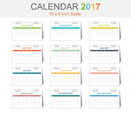 Calendar 2017 10x6 inch scale in vector eps10 with 3D view (pastel tone)