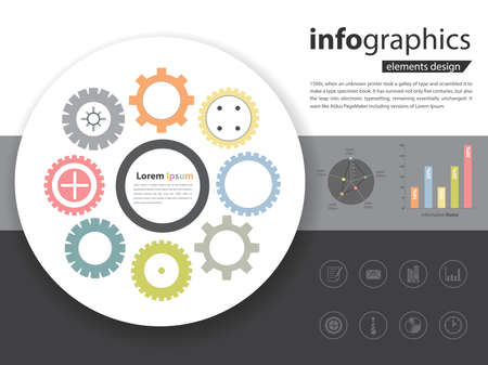 Collection of gears (industrial icon) with infographic and business icon in vector eps10 Ilustração