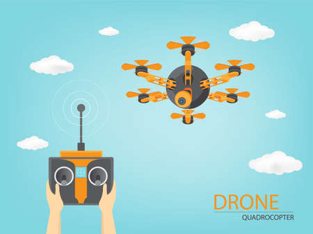 Drone flying in a sky handled with remote controller (Vector eps10) Ilustração