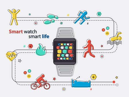 Smart watch smart life activities infographic line cartoon in vector eps10