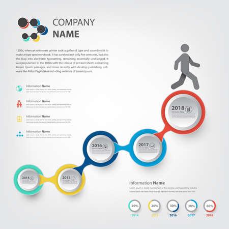Milestone und Timeline-Infografik Schritt zu Fuß