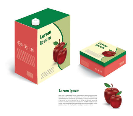 apple juice and package box isolate on white background
