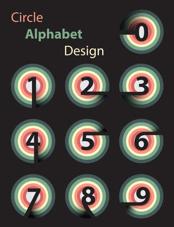 circle alphabet design collection set  on black background