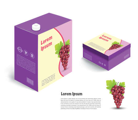 grape juice and package box isolate on white background