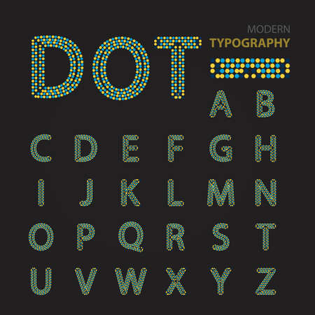 Dot modern typography alphabet Ilustração